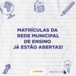 Escolas da Rede Municipal de Socorro estão com matrículas abertas